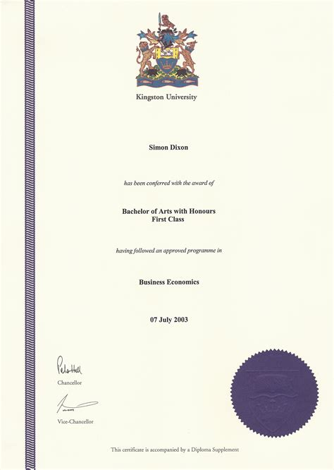 simon dixon degree certificate first class honors in