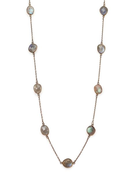 chan luu labradorite station necklace in metallic lyst