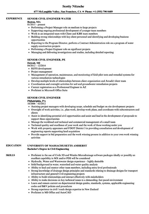 senior civil engineer resume sle senior civil engineer resume sles velvet