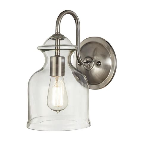 Brushed Nickel Wall Sconce Home Decorators Collection 1 Light Brushed Nickel Wall Sconce 7943hdc The Home Depot