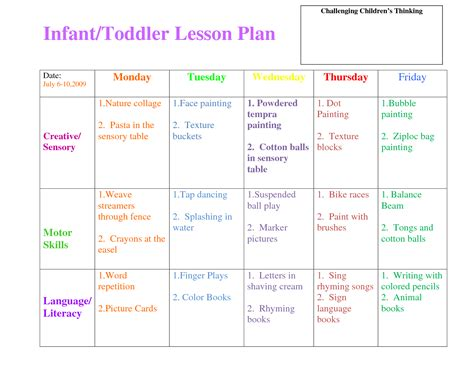 Printable Lesson Plans For Infants | search results for toddler lesson plan template printable