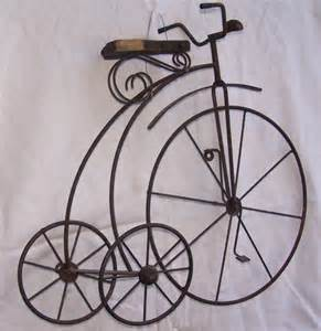 antique metal high wheel bicycle tricycle wall home decor