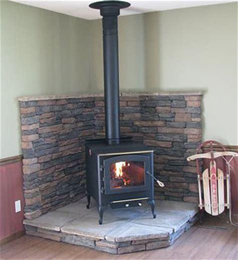 corner wood stove on wood stove hearth wood