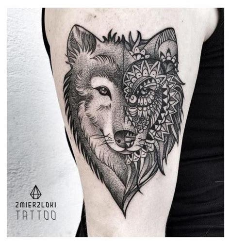 biomechanical wolf tattoo shoulder wolf dotwork tattoo by zmierzloki tattoo