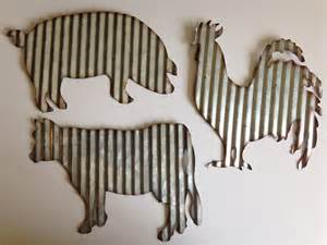 pig home decor barnyard animals rooster cow pig galvanized steel farm