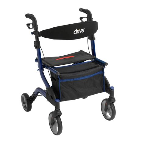rollator walker with seat and brakes blue rollator rolling walker iwalker brakes and seat pouch