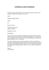 Sle Of Sympathy Letter by Condolence Letter To Employee Hashdoc