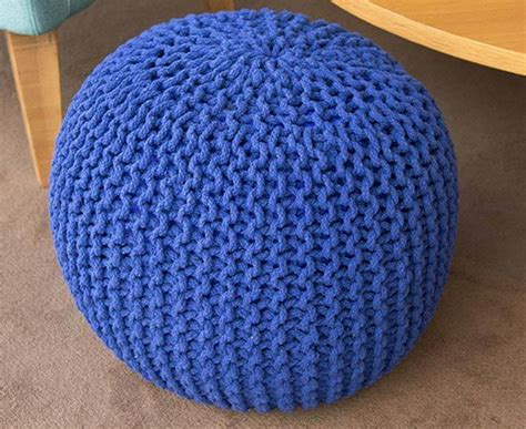 blue knitted pouffe catch of the day knitted gumball pouffe blue