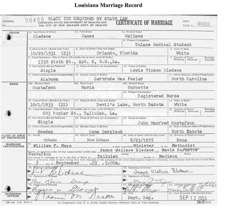 Records Louisiana La Marriage License Copy