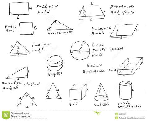 pattern rule for perimeters hand written geometry formulas royalty free stock