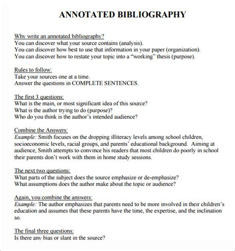 annotated bibliography template annotated bibliography template 6 free