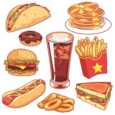 food vector different fast food vector design free