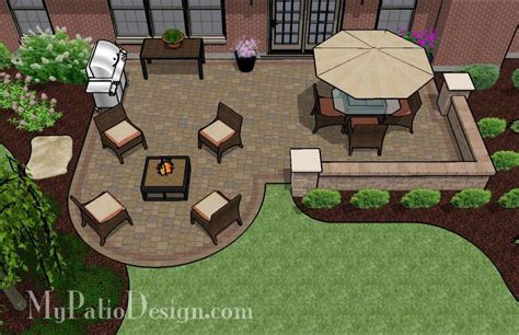 patio layout designs dreamy paver patio design with seat wall plan mypatiodesign