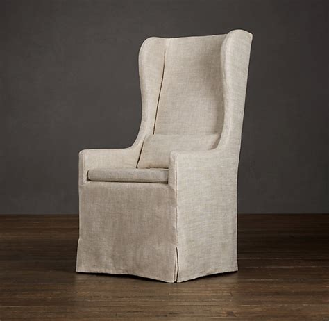 Wing Dining Chairs Slipcovered Wingback Dining Fabric Arm Side Chairs Restoration Hardware 350 I M Drooling