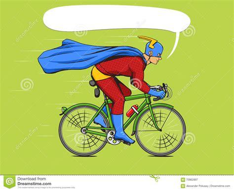 libro hero on a bicycle supereroe su un vettore del libro di fumetti della bicicletta illustrazione vettoriale