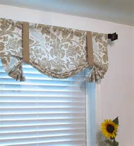 Tie Up Window Curtains Tie Up Lined Valance Barber Taupe Robin Custom By Supplierofdreams