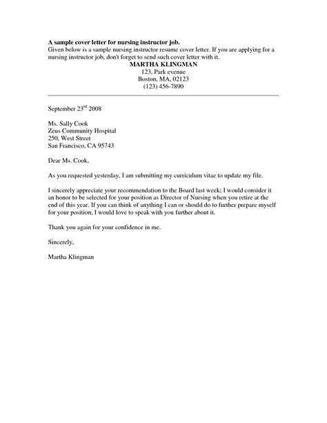 Cover Letter Exles For A Application cover letter exles for nursing homes cover letter
