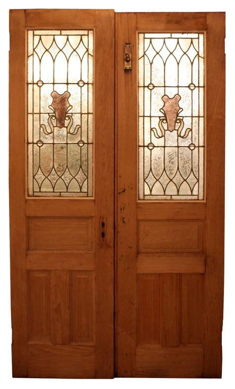 Splendid Antique Pair Of Chestnut Doors With Stained Glass Antique Stained Glass Doors For Sale