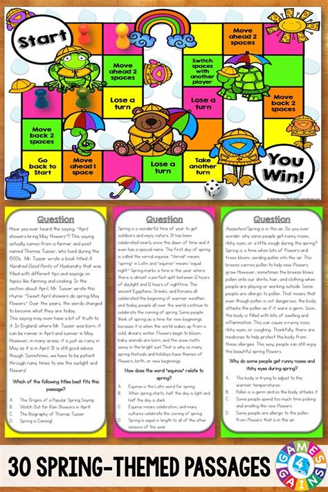 printable reading games for middle school reading comprehension board games 5th grade printable