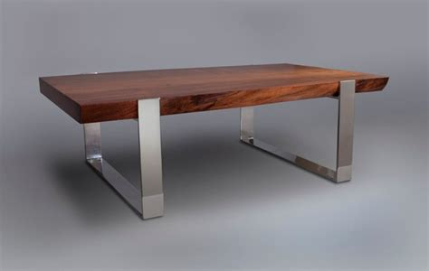 live edge slab wood table with mirror polished stainless