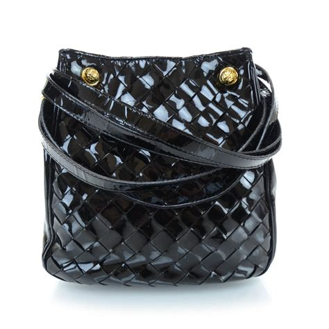 Bottega Veneta Patent Woven Envelope Purse by Bottega Veneta Vintage Patent Woven Shoulder Bag Black 28855