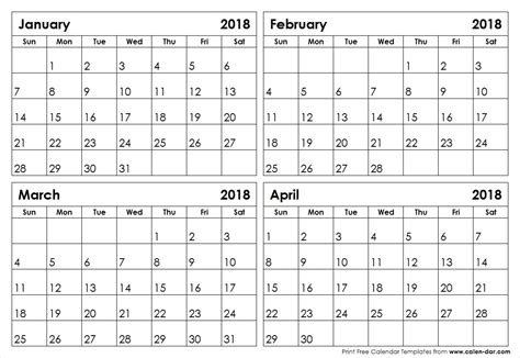 4 month calendar template january to april 2018 calendar 4 month calendar template