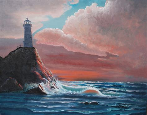 bob ross painting lighthouse lighthouse at sunset 3 195 32 135 this may been