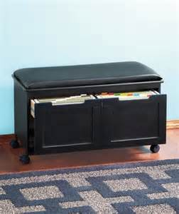 walnut black cushion file cabinet bench office entryway