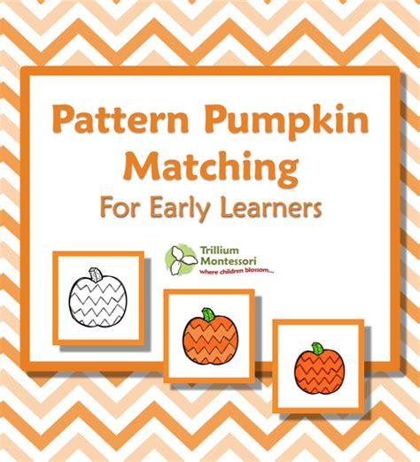 pattern matching cards pumpkin patch fun trillium montessori