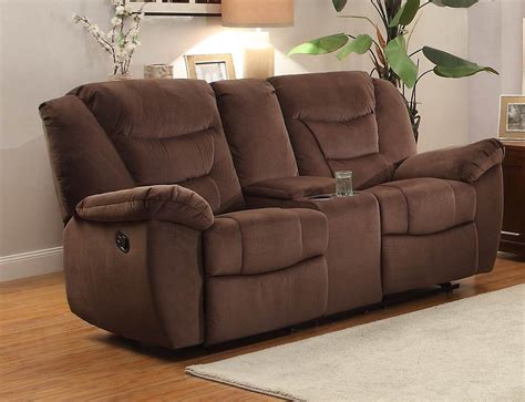dual glider reclining loveseat with console triplett chocolate glider reclining console
