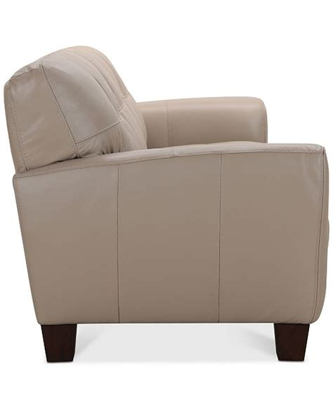 kaleb tufted leather sofa collection furniture kaleb 84 quot tufted leather sofa created for macy
