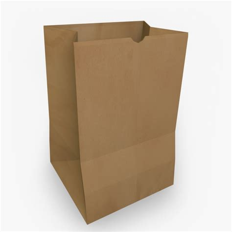 Paper Bags - brown paper bag 3d model