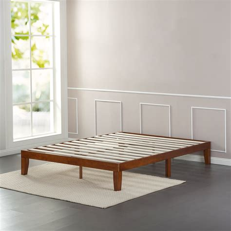 hardwood platform bed cherry finish solid wooden platform bed zinus
