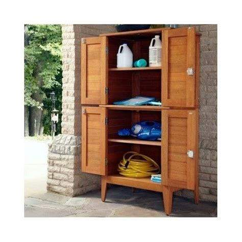 Deck Storage Cabinet Wooden 4 Door Multi Purpose Storage Cabinet Garden Patio Deck Outdoor Shelves Other