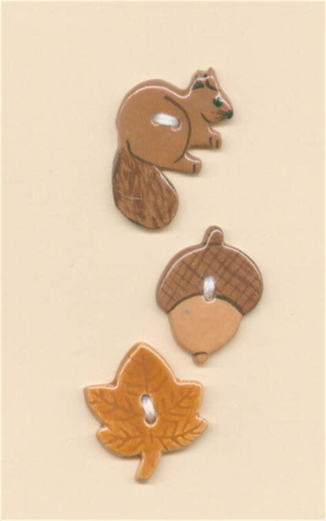 Handmade Ceramic L - decorative handmade ceramic button squirrel acorc l