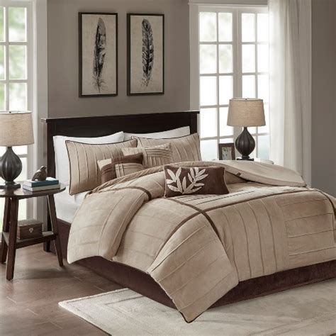 landcaster 7 piece pleated microsuede comforter set
