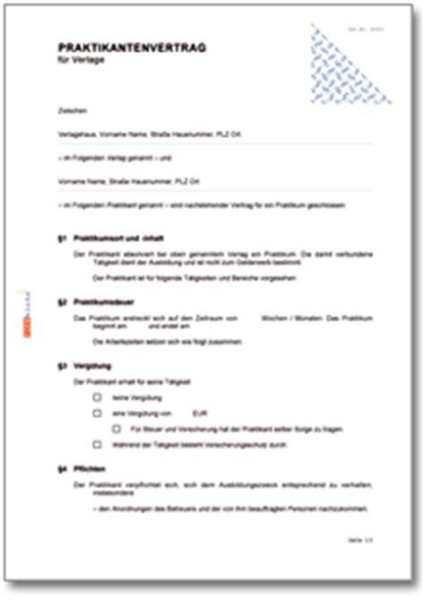 Vorlage Praktikumsvertrag Schweiz Praktikantenvertrag F 252 R Verlage De Vertrag