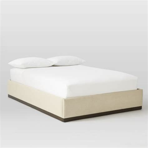 Plinth Upholstered Bed Frame   Oatmeal   west elm