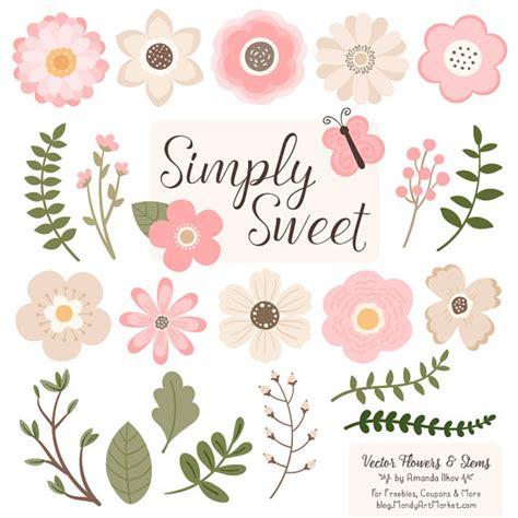 set 2in1 sweet batik kipas pink flowers clipart in soft pink soft pink vector