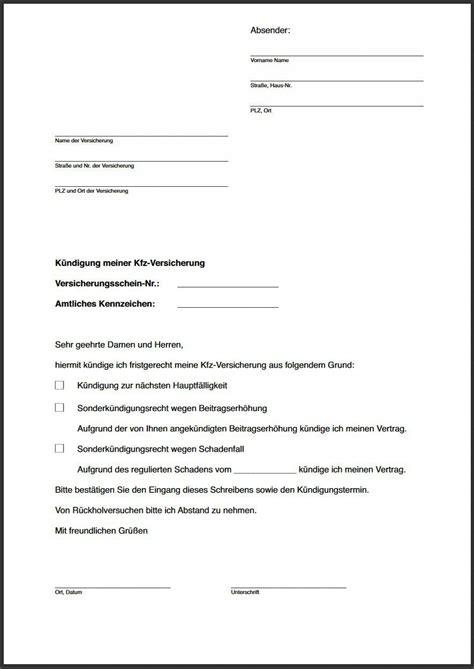 muster kndigung versicherung vorlage k 252 ndigung versicherung k 252 ndigung vorlage fwptc