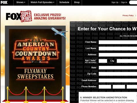 American Cash Awards Sweepstakes - fox quot american country countdown awards flyaway quot sweepstakes