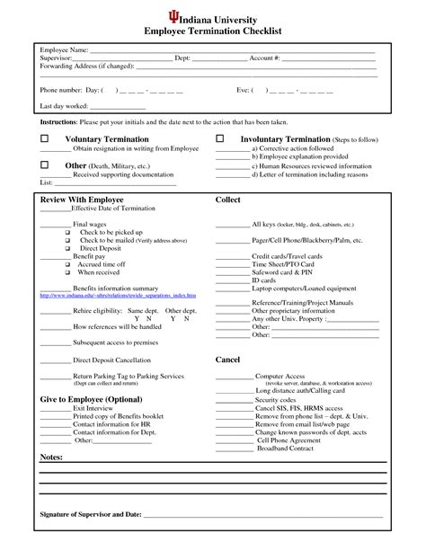 employee list template termination checklist sle