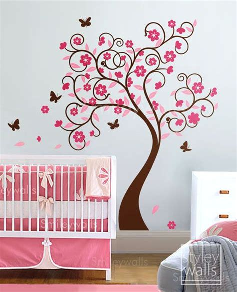 Butterfly Wall Decals For Nursery Cherry Blossom Tree Wall Decal Flower Tree Wall Decal Curly Flower Tree Butterflies For