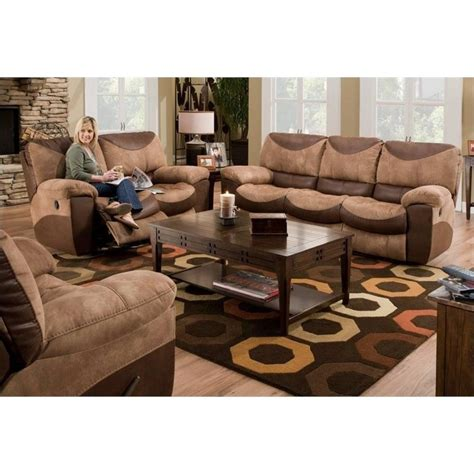 Catnapper Portman Reclining 3 Piece Sofa Set In Saddle And Recliner Sofa Sets