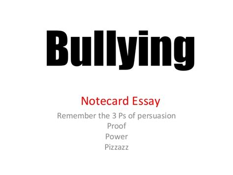 thesis about bullying slideshare bullying argument