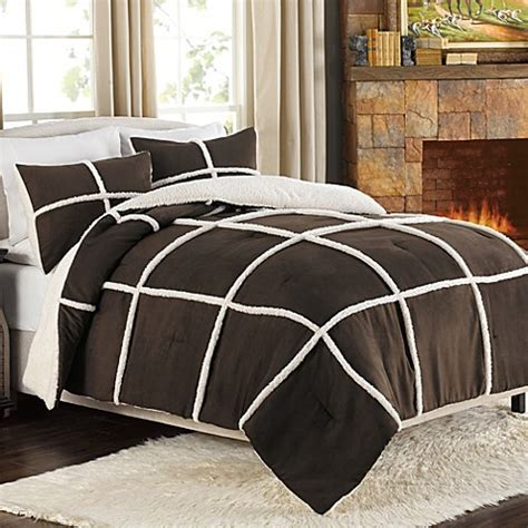 king size sherpa comforter buy stowe microsuede to sherpa reversible comforter and