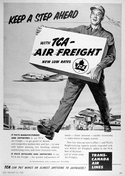 1954 trans canada air lines air freight original vintage advertisement keep a step ahead with