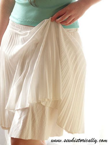 pleated skirt with diy cotton knit underskirt sew