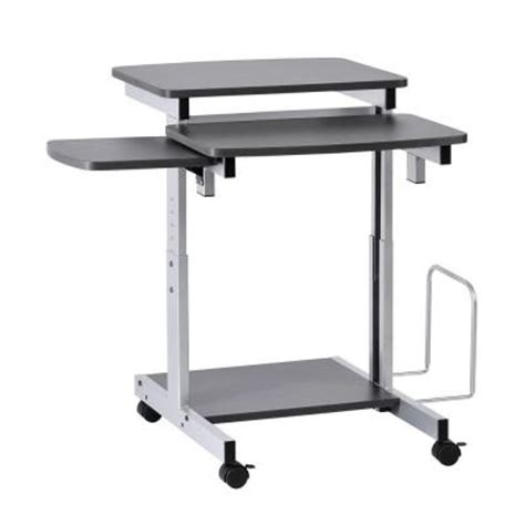 Small Computer Desk Home Depot Buddy Products Series Charcoal And Silver Compact