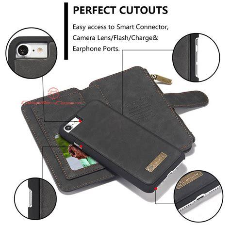 Flip Cover Leather 13 Slot Card Zipper Back Cover Samsung S6 Edge caseme iphone 8 zipper wallet detachable flip black